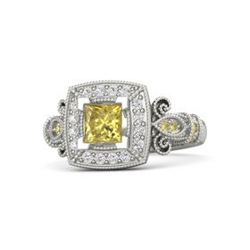 Princess Yellow Sapphire Platinum Ring with White Sapphire and Yellow Sapphire