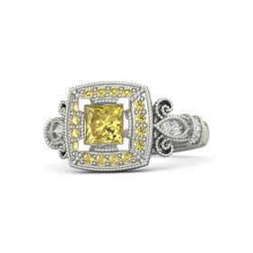 Princess Yellow Sapphire Platinum Ring with Yellow Sapphire & White Sapphire