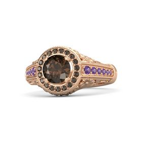 Round Smoky Quartz 14K Rose Gold Ring with Smoky Quartz & Amethyst