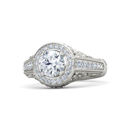 Round Diamond 14K White Gold Ring with Diamond | Primrose ...