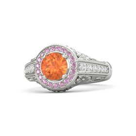 Round Fire Opal 14K White Gold Ring with Pink Sapphire & White Sapphire