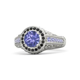 Round Tanzanite 14K White Gold Ring with Black Diamond and Tanzanite