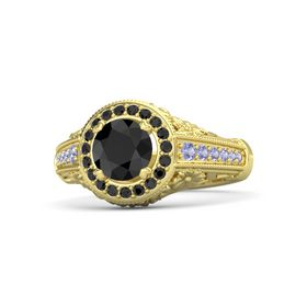 Round Black Diamond 14K Yellow Gold Ring with Black Diamond and Tanzanite