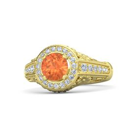 Round Fire Opal 14K Yellow Gold Ring with Diamond