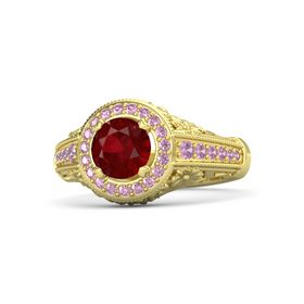 Round Ruby 14K Yellow Gold Ring with Pink Sapphire and Pink Tourmaline
