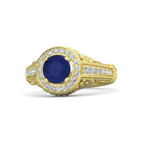 Round Sapphire 14K Yellow Gold Ring with Diamond