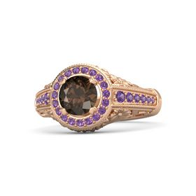 Round Smoky Quartz 18K Rose Gold Ring with Amethyst