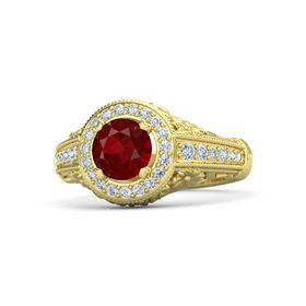 Round Ruby 18K Yellow Gold Ring with Diamond