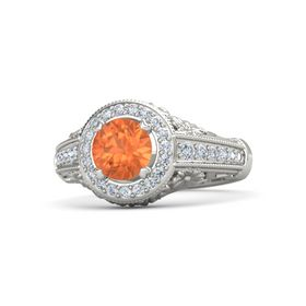 Round Fire Opal Palladium Ring with Diamond