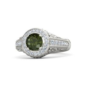 Round Green Tourmaline Palladium Ring with Diamond