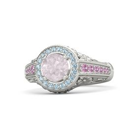 Round Rose Quartz Palladium Ring with Aquamarine and Pink Tourmaline