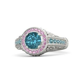 Round London Blue Topaz Platinum Ring with Pink Tourmaline and London Blue Topaz