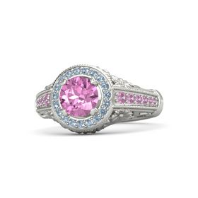Round Pink Sapphire Platinum Ring with Blue Topaz and Pink Tourmaline