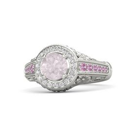 Round Rose Quartz Platinum Ring with White Sapphire & Pink Tourmaline