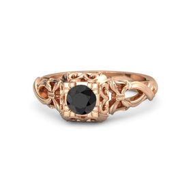 Round Black Diamond 14K Rose Gold Ring