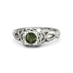Round Green Tourmaline 14K White Gold Ring