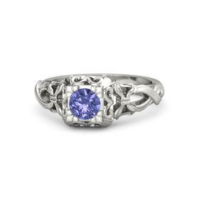 Round Tanzanite 14K White Gold Ring