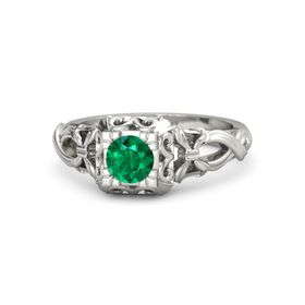 Round Emerald Palladium Ring