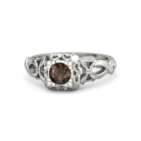 Round Smoky Quartz Palladium Ring