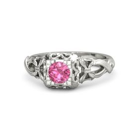 Round Pink Tourmaline Platinum Ring