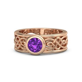 Round Amethyst 14K Rose Gold Ring
