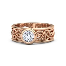 Round Moissanite 14K Rose Gold Ring