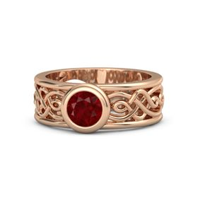 Round Ruby 14K Rose Gold Ring