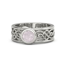 Round Rose Quartz 14K White Gold Ring