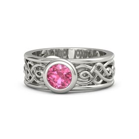 Round Pink Tourmaline 14K White Gold Ring