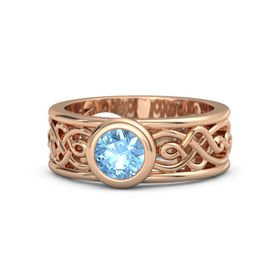 Round Blue Topaz 18K Rose Gold Ring