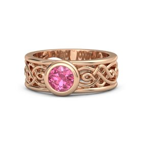 Round Pink Tourmaline 18K Rose Gold Ring