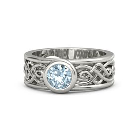 Round Aquamarine Palladium Ring