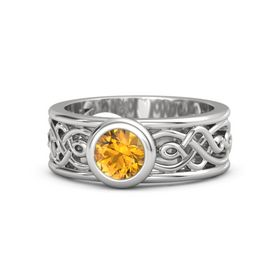 Round Citrine Sterling Silver Ring