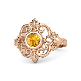 Round Citrine 14K Rose Gold Ring