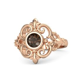 Round Smoky Quartz 14K Rose Gold Ring