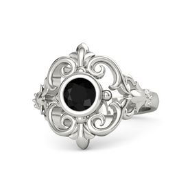 Round Black Onyx 14K White Gold Ring