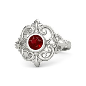 Round Ruby 14K White Gold Ring
