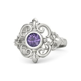 Round Iolite 14K White Gold Ring