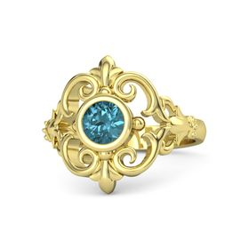 Round London Blue Topaz 14K Yellow Gold Ring