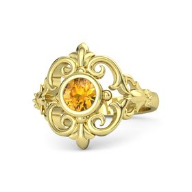 Round Citrine 14K Yellow Gold Ring