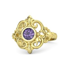 Round Iolite 14K Yellow Gold Ring