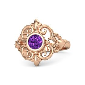 Round Amethyst 18K Rose Gold Ring