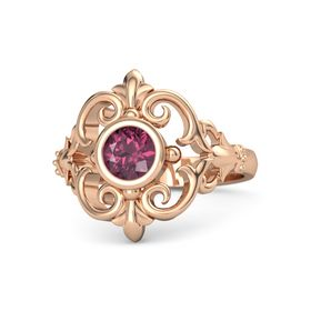 Round Rhodolite Garnet 18K Rose Gold Ring