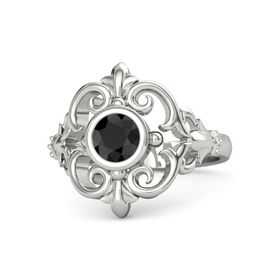 Round Black Diamond 18K White Gold Ring