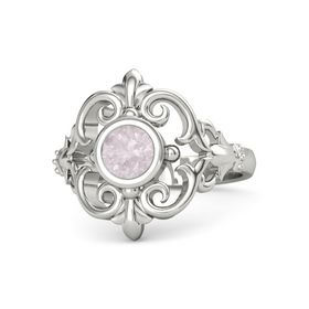 Round Rose Quartz 18K White Gold Ring