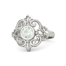 Round Green Amethyst 18K White Gold Ring