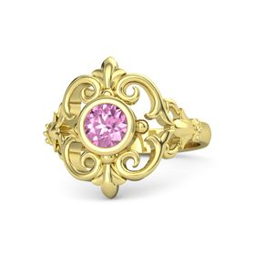 Round Pink Sapphire 18K Yellow Gold Ring
