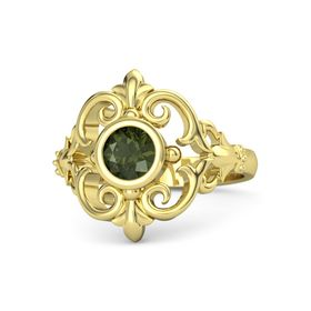 Round Green Tourmaline 18K Yellow Gold Ring