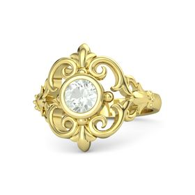 Round Green Amethyst 18K Yellow Gold Ring