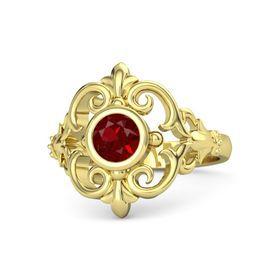 Round Ruby 18K Yellow Gold Ring